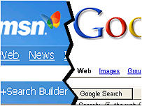 Google vs MSN Internet Explorer