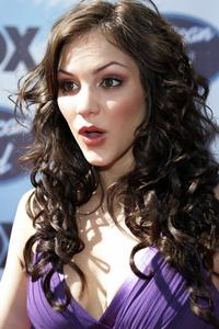 Katharine McPhee cleavage purple dress