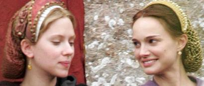 Scarlett Johansson and Natalie Portman filming The Other Boleyn Girl