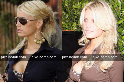 Jessica Simpson flashes same bra twice
