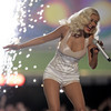 Christina Aguilera exposed her cleavage while performing