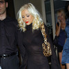 Christina Aguilera exposed her bra and panties in a sheer dress