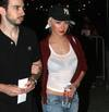 Christina Aguilera exposed her bra in a see through shirt