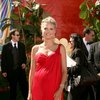 Heidi Klum exposed her cleavage in a red dress
