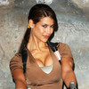 Karima Adebibe exposed her cleavage and pokies as Lara Croft