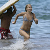 Kate Hudson exposed her striped bikini