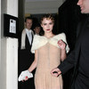 Keira Knightley exposed her beige panties upskirt