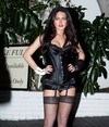 Lindsay Lohan exposed her cleavage in a sexy lingerie halloween costume