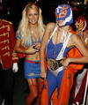 Paris Hilton exposed her cleavage in a sexy halloween costume