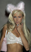 Paris Hilton exposed her lace bra