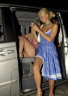 Tara Reid exposed her beige panties upskirt and butt while drunk