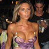 Victoria Beckham exposed her round cleavage